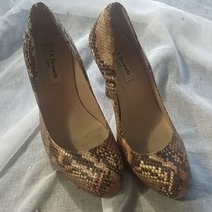 LK Bennett Leather Python Heels Size 37.5
